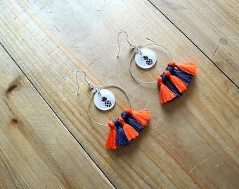 Earring creole pineapple orange and blue marine