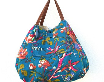 Big bag reversible bird, flowers and plain beige