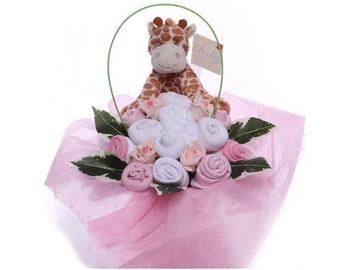 Baby Bouquet Arrangement With Giraffe Toy.