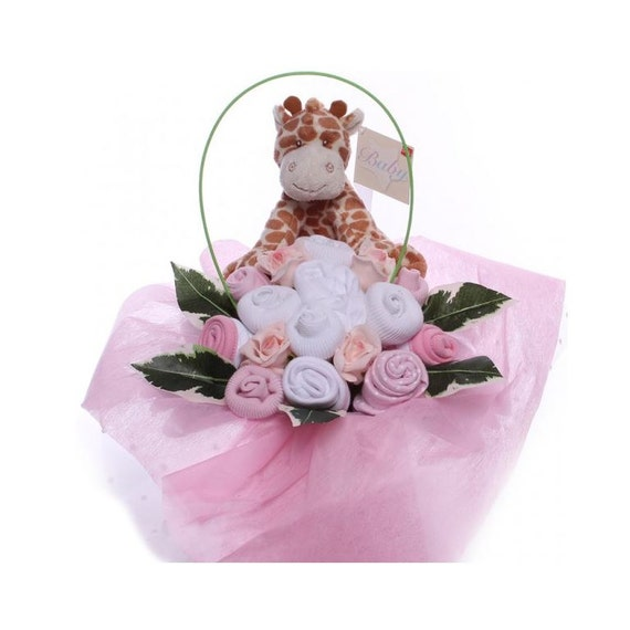 Baby Bouquet Arrangement With Giraffe Toy.