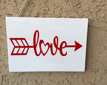Love with an Arrow wood sign