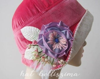 SALE pink 1920's Cloche Hat Vintage Style hat winter Hats hatbellissima ladies hats  millinery Hats with a Brooch