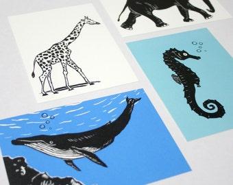 Animal postcard set, animal illustrations, scratchboard, greeting card, black, whale, giraffe, seahorse, elephant