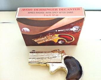 Avon Derringer Full Decanter w Box/Avon Derringer Gun/Avon Gun Collectibles/Avon After Shave/Avon Collectibles/Men's Gift/Men's Collectibles