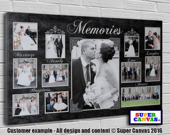 Memories framed personalised bespoke Canvas Print with 12 pictures