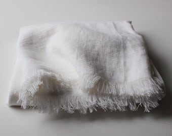 Off White Softened Linen Throw, Linen Throw Blanket, White Linen Throw, Fringed Throw Blanket, Soft Linen Throws and Blankets
