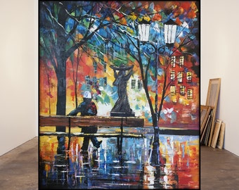 Modern Scenery Bench Monument City Square Hand painted Oil Painting On Canvas