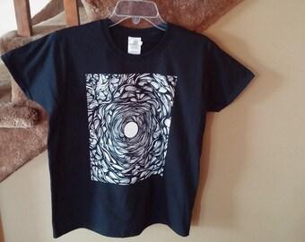 "T-shirt Men's S Original Psychedelic Black White Design ""Vortex"""
