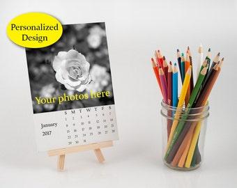 personalized desk calendar with easel, customize loose leaf calendar, make your own calendar, photo print gift, 2017 calendar 4x6 inch