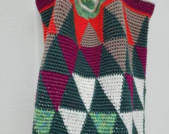 Crochet bag TRIFORCE to shopping, sports for great women, stable, pattern cotton versatile, beautiful companion, handmade, unique
