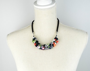 Necklace black and multicolored, fabric and rope necklace, light necklace