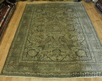 Animal Pictorial Muted Gold Tabriz Persian Wool Oriental Area Rug Carpet 10X13