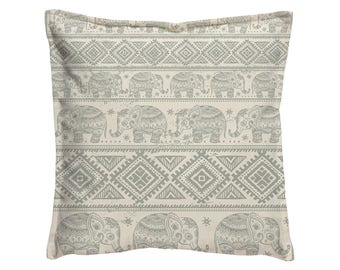 Sofa pillow, Sofa Pillow cushion, Gray Beige, Decorative Pillow cover, Elephant indian print, Pillow case, Pillow cover, Cushion