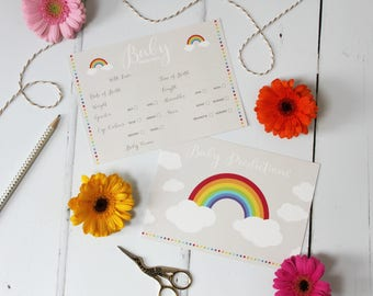 Rainbow Baby Prediction Cards: Baby Shower game
