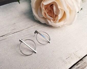 Sterling Silver Hoop Earrings Geometric Earrings with Bar Design