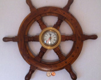 Vintage Wooden and Brass Ships Wheel, Ships Helm, Clock, Works, Heavy Duty Nice Wood, 18 inches wide, Wall Hanging, Nautical Them, Cool