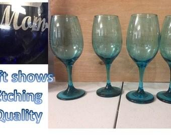 Teal Wine Goblets