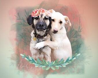 Double Pet Watercolor Portrait