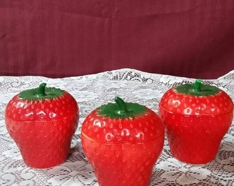 Strawberry lidded jelly bowls , or trinket dish. Set of 3.
