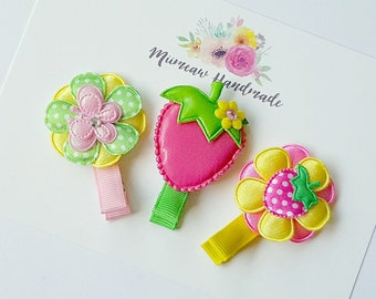 Baby Hair Clips , Infant Hair Clips ,Toddler Hair Clips ,  Girls Hair Clips , Hair Clip Set , Green  - Pink  - Pink Strawberry Hair Clip Set