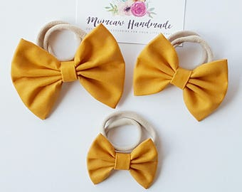 Fabric Bow Headband, hair Clip, Nylon Headband, Bow Hair Clip , Girls Hair Clip - Mustard Bow, Choose Headband or Clip