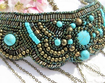 "FREE SHIPPING!!! Necklace ""Hera"". Embroidery beads necklace"