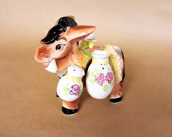 Donkey Salt and Pepper Oil and Vinegar Ceramic Figure Japan Made