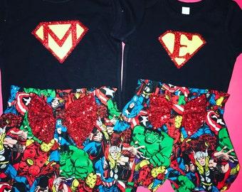 Super hero super man shirt with childs initial Super Hero shirt