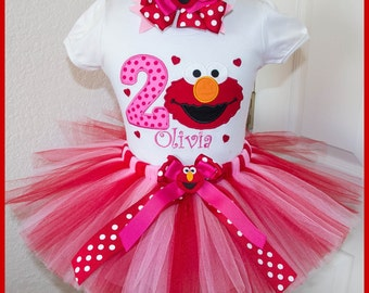 New Elmo Valentine tutu Birthday outfit  Personalized with name Red and Pink Tutu