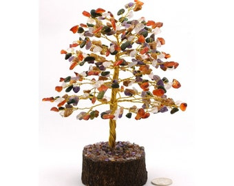 300 multicolor jasper gem tree with wooden base.