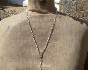 French vintage clear glass beaded rosary