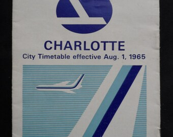 FREE SHIPPING in USA Eastern Airlines Memorabilia Vintage Charlotte City Timetable Effective 8/1/1965  Eastern Airlines Collectible  1054