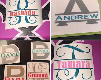 Split Monogram Decal, Initial Decal, Split Monogram Sticker, Initial Sticker, Monograms for YETIs, Personalized Gift