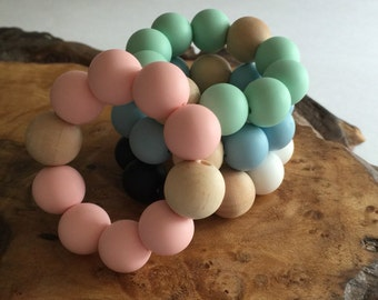 Classic Uno Teething Ring - Soft Pink, teething toy, grasping toy, pink teether, baby shower gift, baby gift, pink teether, baby girl gift