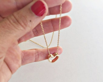 Gold necklace with pendant, heart, heart, love, gold plated necklace