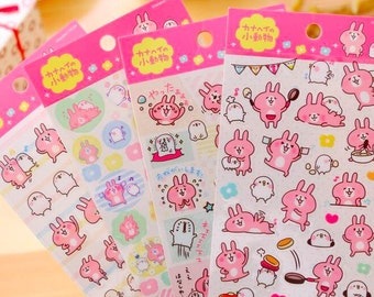 Kanahei naughty pink rabbit stickers cute kawaii animals rabbit chick cat