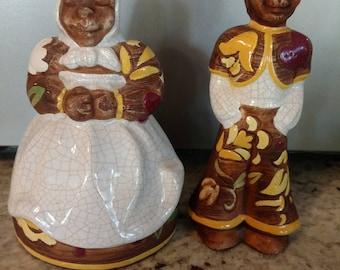 Brayton Laguna Peruvian Man and Woman Salt and Pepper Set California Pottery 1960's