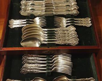 1847 Rogers Charter Bros Charter Oak Silverplate set in Original Mahogany Box desert forks, butter knives, serving spoons, dinner forks, etc