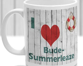 Bude-summerleaze mug, Gift to remember Cornwall, Ideal present,custom design.