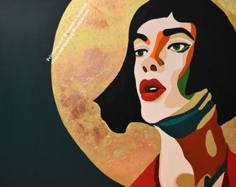 Halo Original Painting passion love modern art wall decoration woman, gold, green, beauty painting