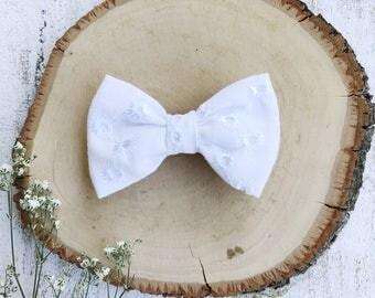 White Eyelet Bow - Baby Bow - Toddler Clip - Baby Headband - Handmade Bow