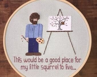 """Little Squirrel - Hand Embroidery Hoop - Bob Ross - 7"""" Hoop"""
