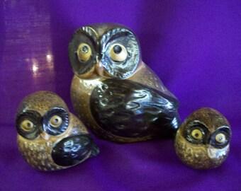 Mid-Century Otagiri (OMC) Stoneware Owls - Set of 3