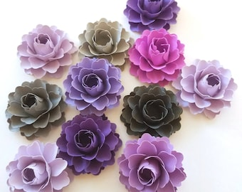 Loose Paper Flowers | Purple and Gray Paper Flowers (Set of 50)