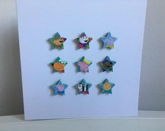 Peppa Pig stars handmade Greeting Card.  Features Peppa, George, Emily Elephant, Suzy Sheep, Pedro Pony, Freddy Fox, Candy Cat & Danny Dog