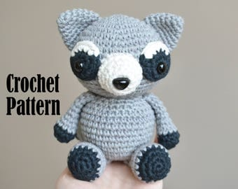 Crochet Amigurumi Pattern: Rocco the Raccoon, Crochet Toy, Stuffed Animal
