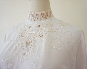 Vintage Hand Embroidered Blouse , Shirt, Top with silk threads, Victorian Style, even perfect for Wedding