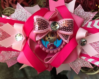 Paw patrol over the top bow , SKYE over the top bows girls paw patrol birthday, paw patrol birthday bows, girls bows and headbands skye bows