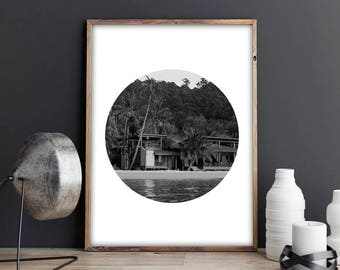 SALE! Palms, Sea, Tropical, Nature, Black and White, Circle Print, Photography, Printable, Instant, Printable A4, A4