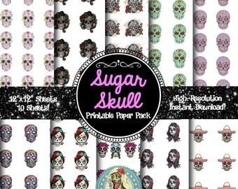SUGAR SKULL, Digital Paper Pack, Day of the Dead, Decorative Skulls, Scrapbook Pages, Scrapbook Paper 12x12, Scrapbook Paper Download